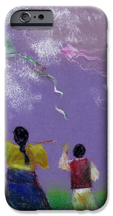 Flying Kite In A Sunny Day-oil Pastel IPhone 6 Case featuring the drawing Kite Flying by Mui-Joo Wee