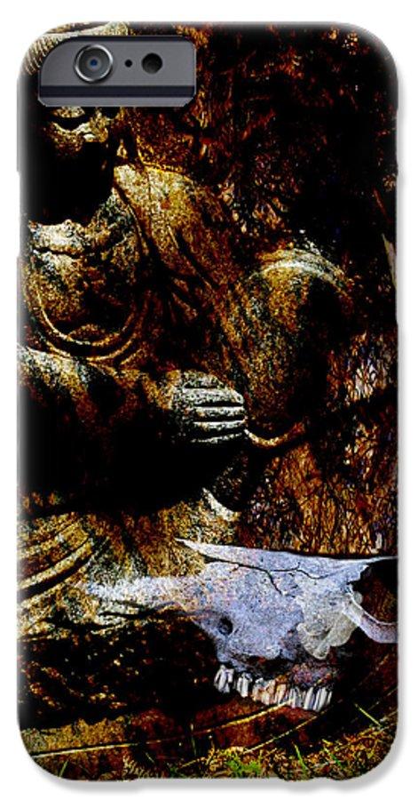 Kwan Yin IPhone 6 Case featuring the mixed media Kwan Yin Meditates by Ann Tracy