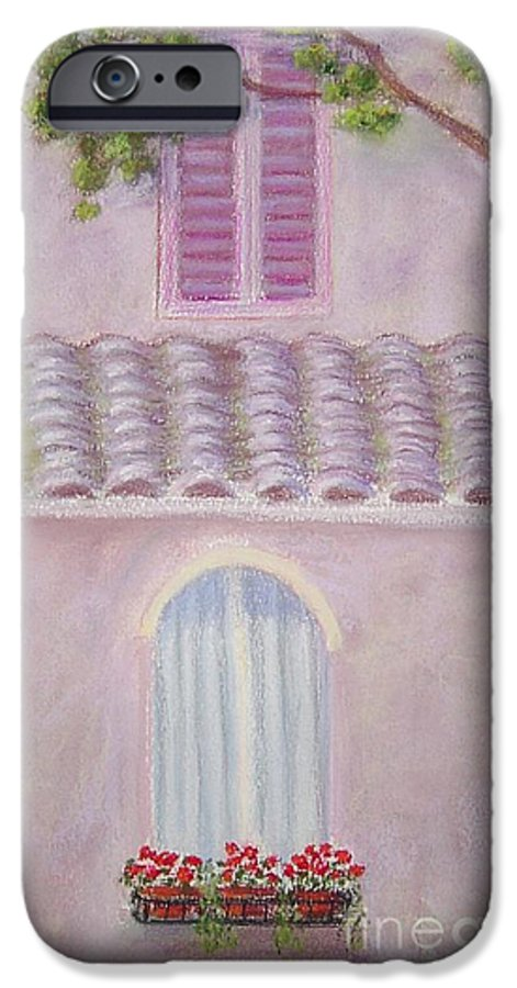 Window Boxes IPhone 6 Case featuring the painting La Casa Rosa Lunga Il Treve by Mary Erbert
