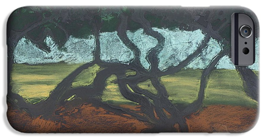 Contemporary Tree Landscape IPhone 6 Case featuring the mixed media La Jolla II by Leah Tomaino