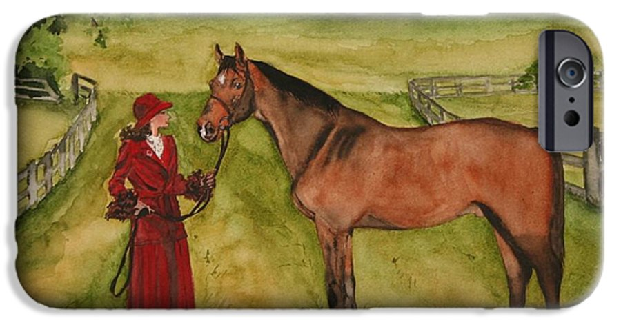 Horse IPhone 6 Case featuring the painting Lady And Horse by Jean Blackmer
