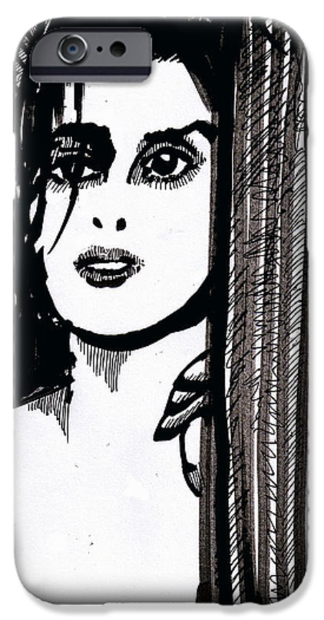 Sad Lady IPhone 6 Case featuring the drawing Lady At The Door by Seth Weaver