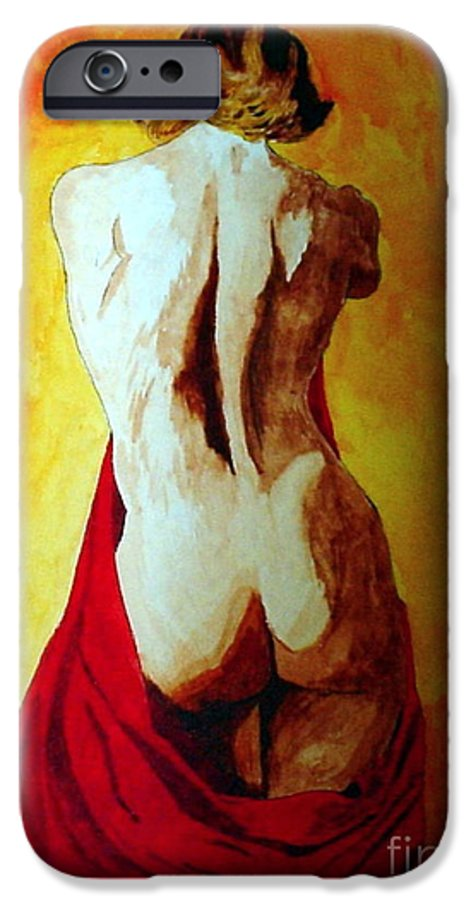 Nude Red Lady In Red IPhone 6 Case featuring the painting Lady In Red by Herschel Fall