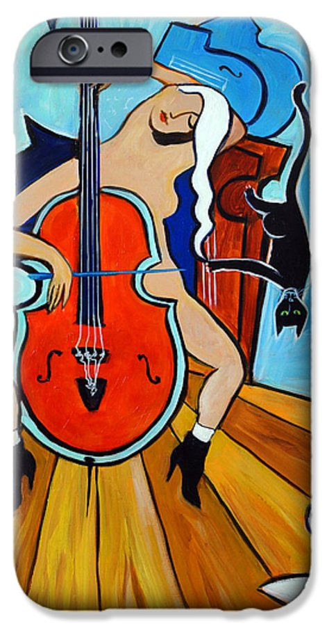 Musicians IPhone 6 Case featuring the painting Lady In Red by Valerie Vescovi