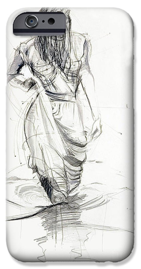 Woman IPhone 6 Case featuring the drawing Lady In The Waters by Kerryn Madsen-Pietsch