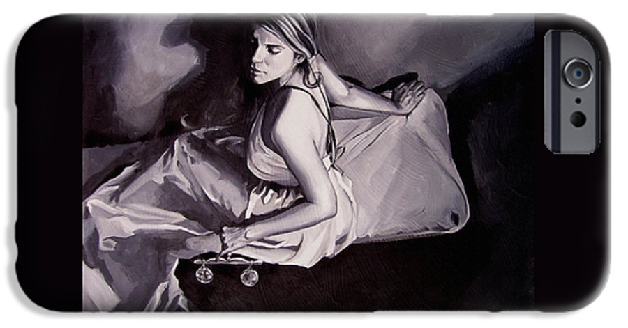 Law Art IPhone 6 Case featuring the painting Lady Justice Black And White by Laura Pierre-Louis
