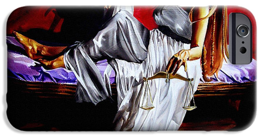 Law IPhone 6 Case featuring the painting Lady Justice by Laura Pierre-Louis