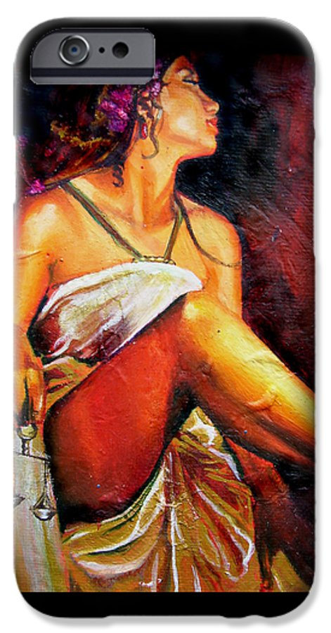 Law Art IPhone 6 Case featuring the painting Lady Justice Mini by Laura Pierre-Louis
