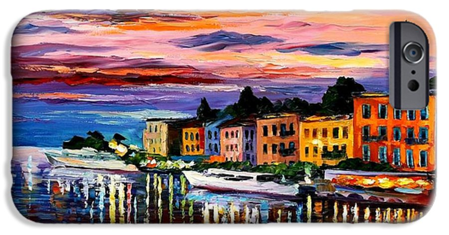 Cityscape IPhone 6 Case featuring the painting Lake Como - Bellagio by Leonid Afremov