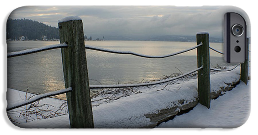 Fence IPhone 6 Case featuring the photograph Lake Snow by Idaho Scenic Images Linda Lantzy