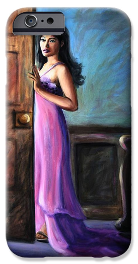 Woman IPhone 6 Case featuring the painting Last Glance by Maryn Crawford