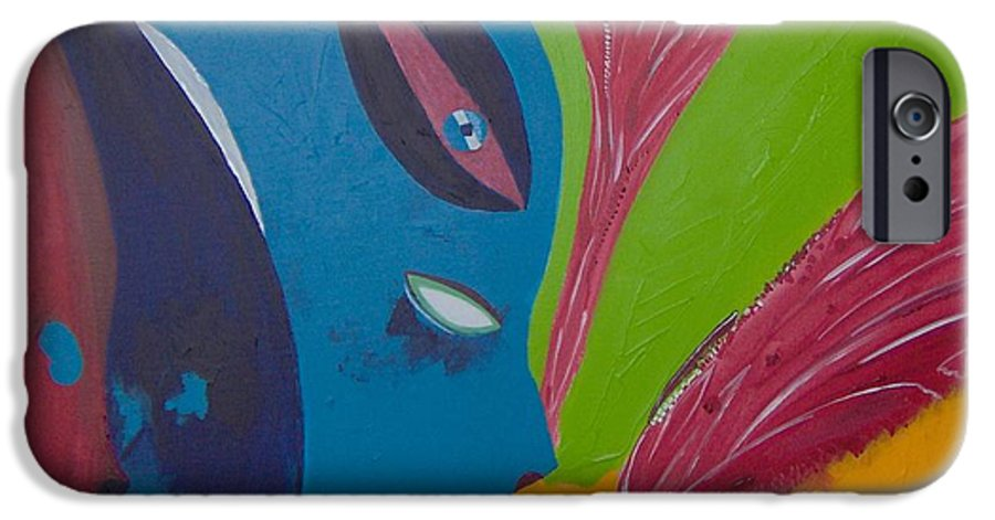 Red IPhone 6 Case featuring the painting Laune Des Fauns by Michael Puya