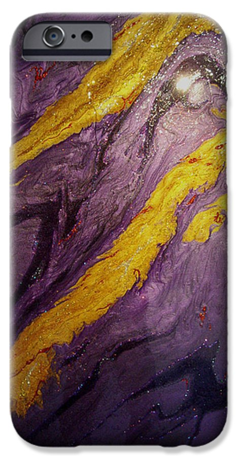 Abstract IPhone 6 Case featuring the painting Lava At Night by Patrick Mock