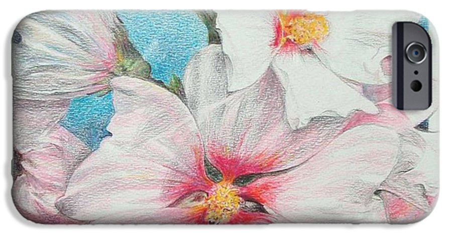 Flower IPhone 6 Case featuring the painting Lavater by Muriel Dolemieux