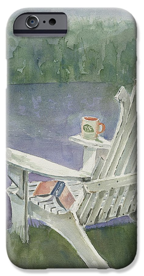 Chair IPhone 6 Case featuring the painting Lawn Chair By The Lake by Arline Wagner