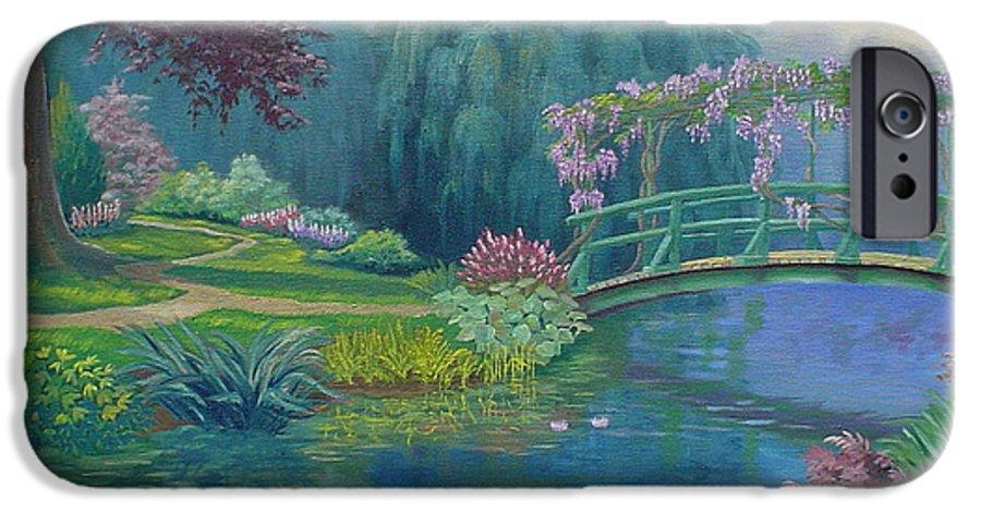 Landscape IPhone 6 Case featuring the painting Le Pont Japonais by Tan Nguyen