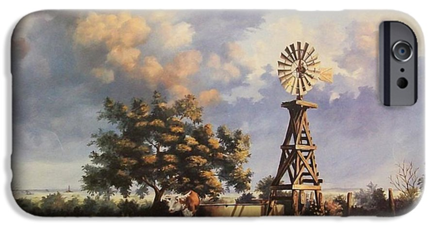 A New Mexico Landscape. IPhone 6 Case featuring the painting Lea County Memories by Wanda Dansereau