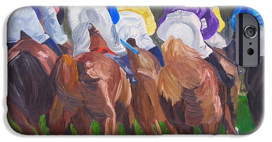 Horse Racing IPhone 6 Case featuring the painting Leading The Pack by Michael Lee