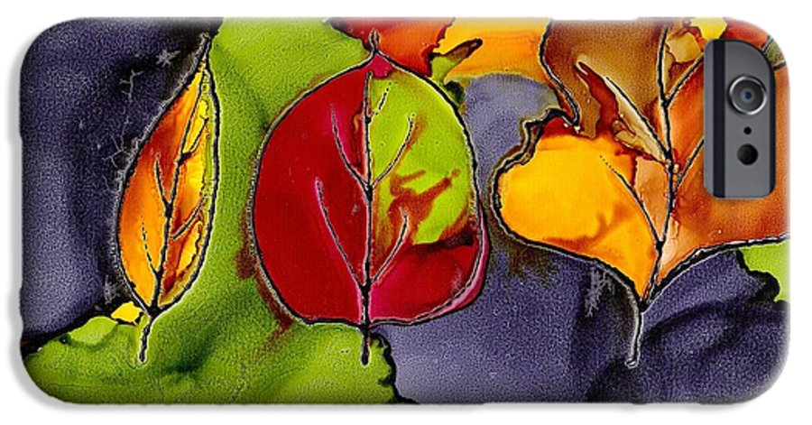 Leaf IPhone 6 Case featuring the painting Leaf Brilliance by Susan Kubes