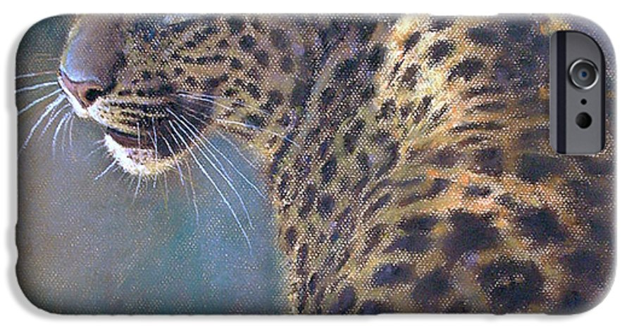 Cats IPhone 6 Case featuring the painting Leopard by Iliyan Bozhanov