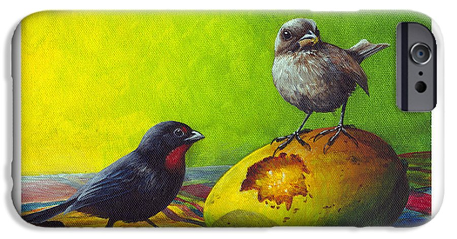 Chris Cox IPhone 6 Case featuring the painting Lesser Antillean Bullfinches And Mango by Christopher Cox