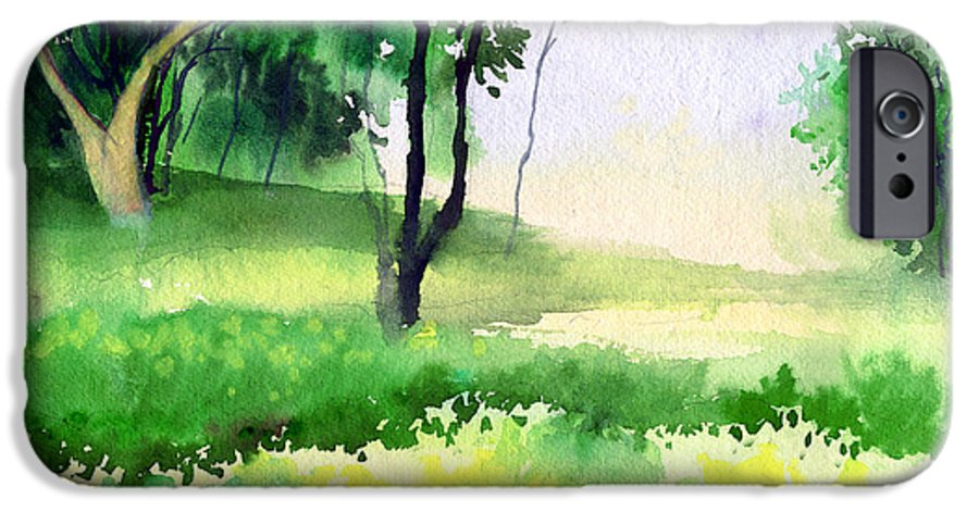 Watercolor IPhone 6 Case featuring the painting Let's Go For A Walk by Anil Nene