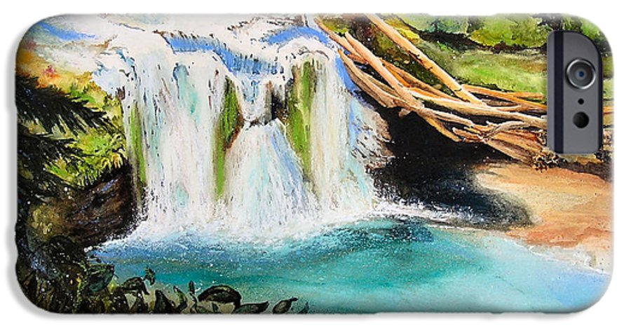 Water IPhone 6 Case featuring the painting Lewis River Falls by Karen Stark