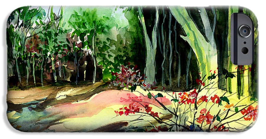 Watercolor IPhone 6 Case featuring the painting Light In The Woods by Anil Nene