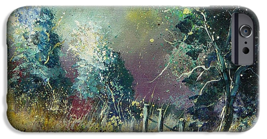 Landscape IPhone 6 Case featuring the painting Light On Trees by Pol Ledent