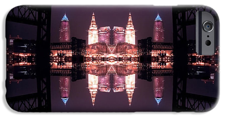 Cleveland IPhone 6 Case featuring the photograph Lights Buildings And Bridges by Kenneth Krolikowski