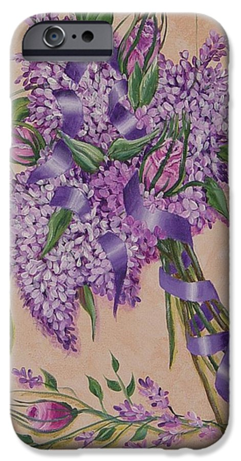 Lilacs IPhone 6 Case featuring the painting Lilacs by Quwatha Valentine