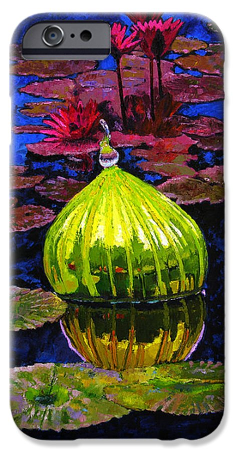 Blown Glass IPhone 6 Case featuring the painting Lilies And Glass Reflections by John Lautermilch