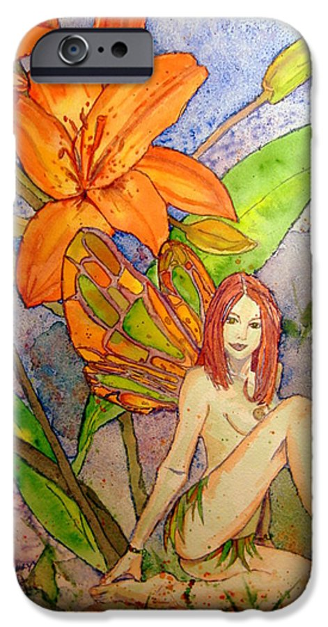 Faerie IPhone 6 Case featuring the painting Lillian Keeper Of Both Wealth And Pride - Watercolor by Donna Hanna