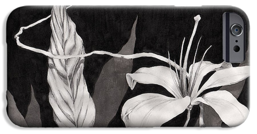 Ink Painting IPhone 6 Case featuring the drawing Lily In The Night by Jennifer McDuffie