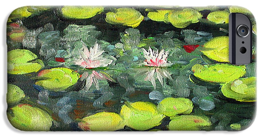 Pond IPhone 6 Case featuring the painting Lily Pond by Paul Walsh