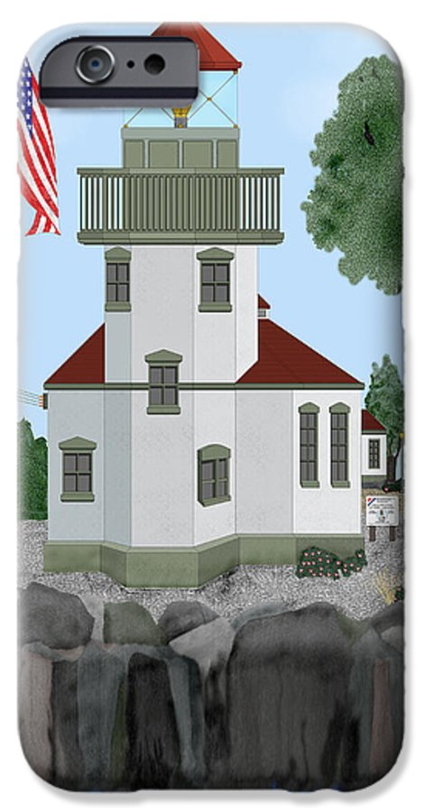 Lighthouses IPhone 6 Case featuring the painting Lime Kiln Light On San Juan Island by Anne Norskog
