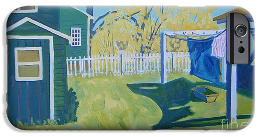Backyard IPhone 6 Case featuring the painting Line Of Wash by Debra Bretton Robinson