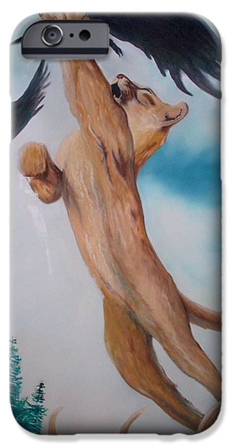 Lion IPhone 6 Case featuring the painting Lion King by Patrick Trotter