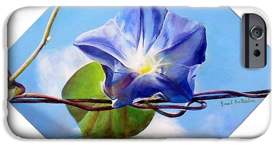 Floral Painting IPhone 6 Case featuring the painting Liseron by Muriel Dolemieux