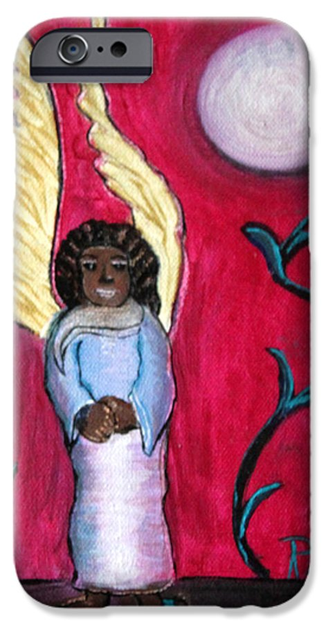 Beautiful Black Angel With Long Gold Wings IPhone 6 Case featuring the painting Little Angel by Pilar Martinez-Byrne