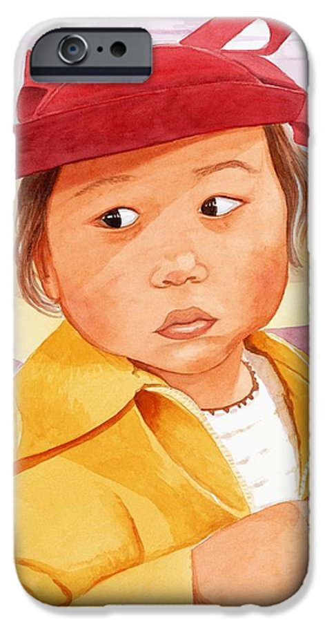 Little Japanese Girl In Red Hat IPhone 6 Case featuring the painting Little Girl In Red Hat by Judy Swerlick