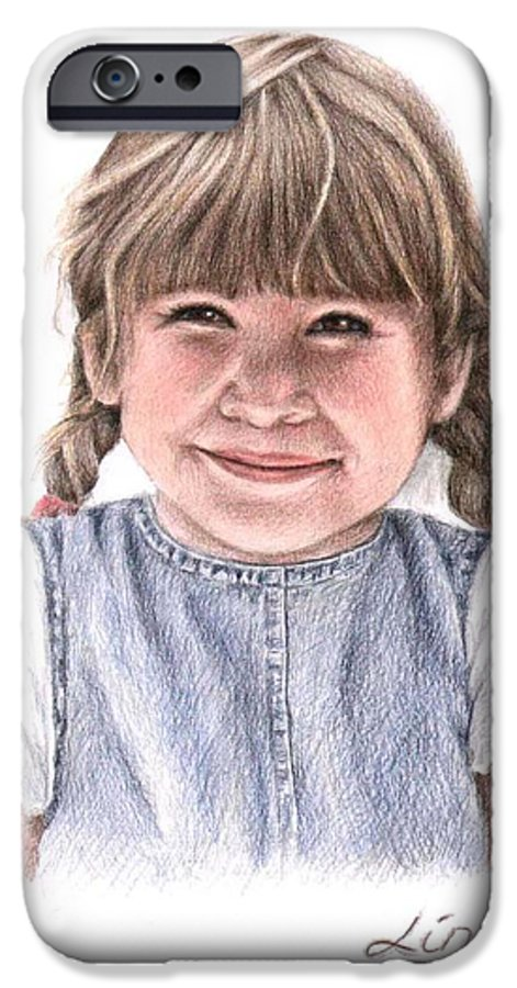 Girl IPhone 6 Case featuring the drawing Little Girl by Nicole Zeug