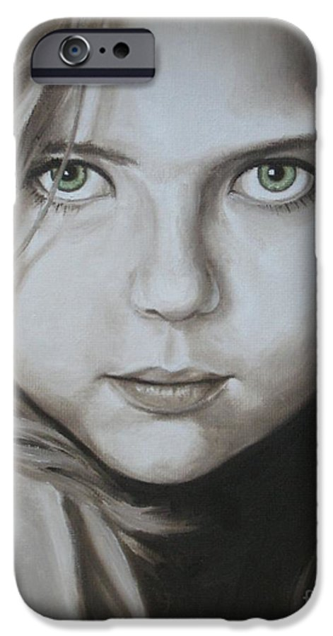 Portrait IPhone 6 Case featuring the painting Little Girl With Green Eyes by Jindra Noewi