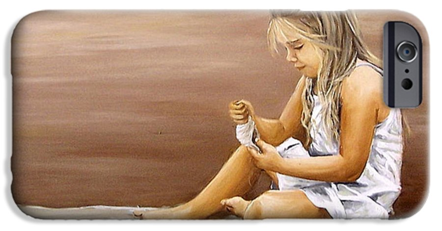 Children Girl Sea Shell Seascape Water Portrait Figurative IPhone 6 Case featuring the painting Little Girl With Sea Shell by Natalia Tejera