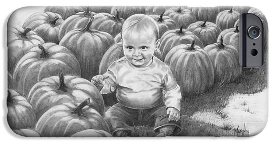 Charity IPhone 6 Case featuring the drawing Little Pumpkin by Murphy Elliott