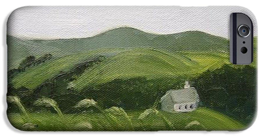 Landscape IPhone 6 Case featuring the painting Little Schoolhouse On The Hill by Toni Berry