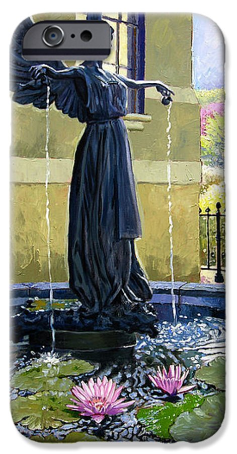Garden Fountain IPhone 6 Case featuring the painting Living Waters by John Lautermilch