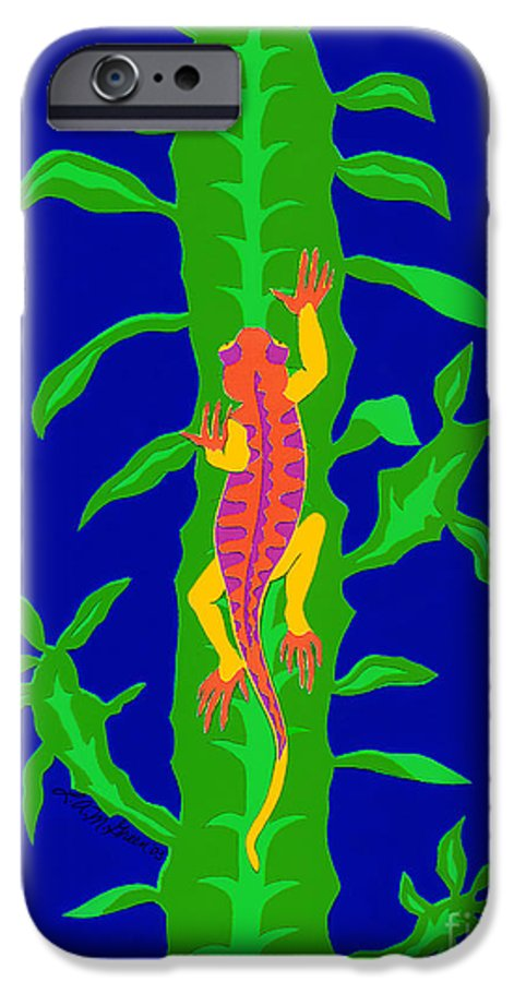 Nature IPhone 6 Case featuring the drawing Lizard And Cactus by Lucyna A M Green