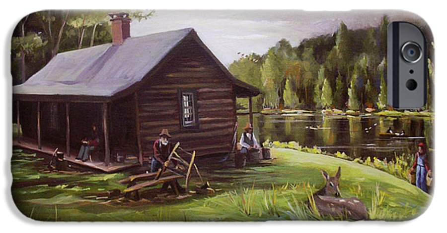 Log Cabin By The Lake IPhone 6 Case featuring the painting Log Cabin By The Lake by Nancy Griswold