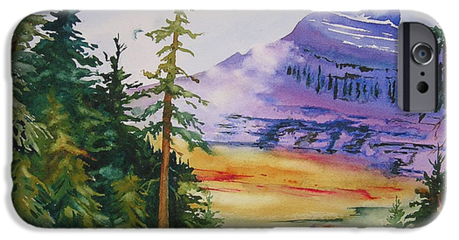 Landscape IPhone 6 Case featuring the painting Logan Pass by Karen Stark